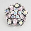 3 cores feminino pulseira de cristal Boêmio de Metal gengibre 18mm botão snap jóias M569 relógios pulseiras de couro das mulheres