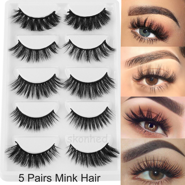 eeedd0a0387 5 Pairs Mixed Multipack 3D Soft Mink Hair False Eyelashes Wispy Long Lashes  Natural Eye Makeup Faux Eye Lashes Extension Tool