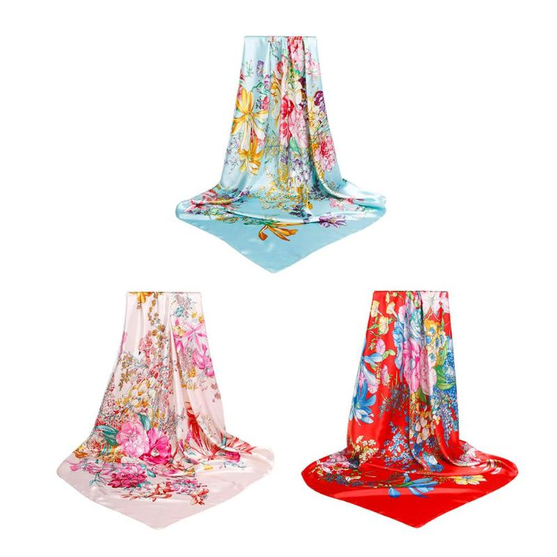 Fashion Women Floral Print Square Scarf Imitate Silk Retro Neck Wrap Band Casual Gift Head Scarves Bag Ribbon Female Decoration