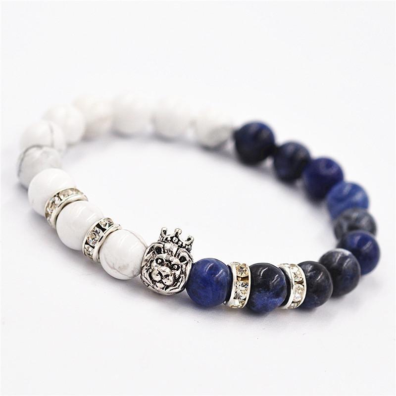 2018 New White Lapis Lazuli Beads Bracelets Bracelet Crown Lionhead Retro Pendant Gift Bracelets Jewely
