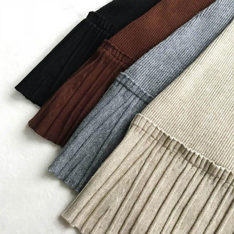 MAXDIROO Frauen Herbst Winter Gestrickte Plissee Midi Rock Koreanische Stil Reich Warme Und Mode Fließende Rüschen Röcke