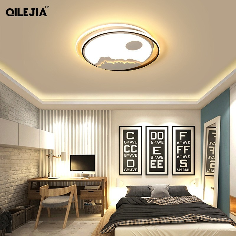 New Arrival RC Modern Led Ceiling Lights For Living Room Bedroom Study Room Black and White Color Dimmable Ceiling Lamp FixturesNew Arrival RC Modern Led Ceiling Lights For Living Room Bedroom Study Room Black and White Color Dimmable Ceiling Lamp Fixtures