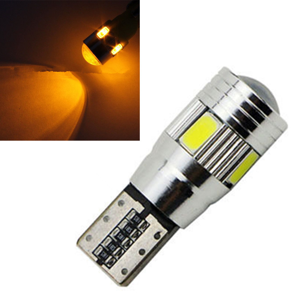 CYAN SOIL BAY Amber Yellow 6 SMD LED 5630 Error Free 194 168 W5W Universal parking Car T10 CANBUS Auto Side Light Bulb Lamp Red cyan soil bay 1x canbus error free white t10 5630 6 smd wedge led light door dome bulb w5w 194 168 921 interior lamp