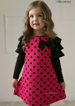 girls dress 2019 new Spring Autumn Cotton Long-sleeved dots  children clothes 2-3-4-5-6-7  Baby Girl Clothes цены