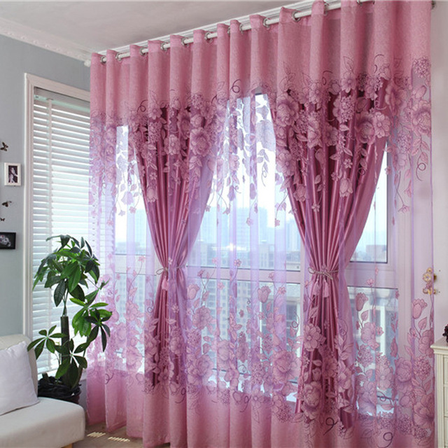 1 Pc Curtain And 1 Pc Tulle Peony Luxury Window Curtains: Double Layer Luxury Window Curtains Set For Living Room