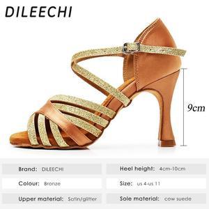 Image 2 - DILEECHI Latin Dans Ayakkabıları Kadın Ipek Saten Yeni Bronz Salsa Parti Balo Salonu Dans Ayakkabıları topuk 9 cm Dikişsiz geri bayanlar spor ayakkabı
