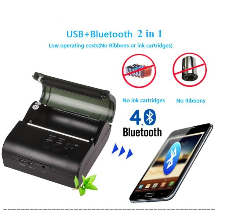 Image 5 - New 80mm Mini Mobile Portable Thermal Receipt Printer Android 4.2.2 Bluetooth 4.0 Printer Mini Android Printer Free with SDK-in Printers from Computer & Office