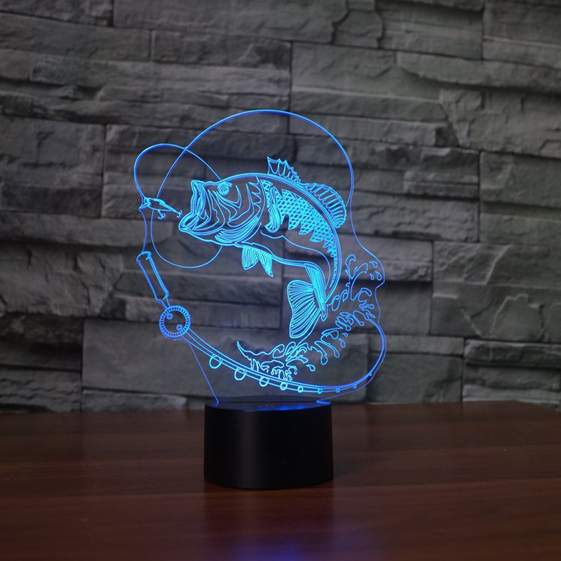 7 Color Changing Fish 3D led Lamp USB Charge Fishing 3D night light Desk lamp Touch Button Table Lamps Amazing Gifts for Kids