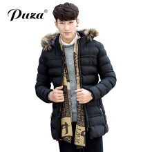 Hot Men's Parka Men Cotton Padded Medium-Long Outerwear Coat Thick Warm Casual Winter Windproof Jacket Men With Fur Collar Hood
