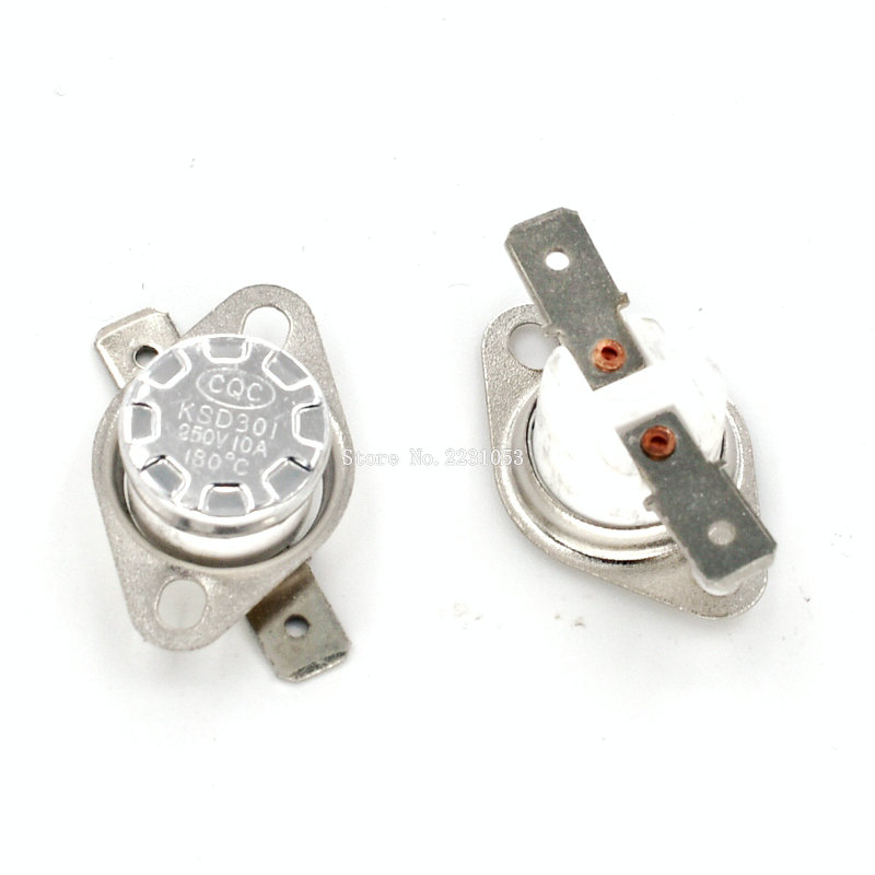 2PCS/LOT KSD301 180 Degree 250V 10A Normal Close Ceramics Temperature Controlled Switch Thermostat Wholesale