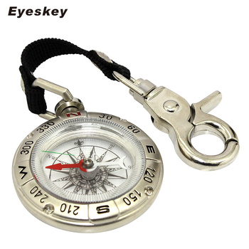 Eyeskey Backpack Portable Outdoor Hiking Camping Compass Handheld Key Chain Survival Compass with Alloy Silver Mini Compass 1