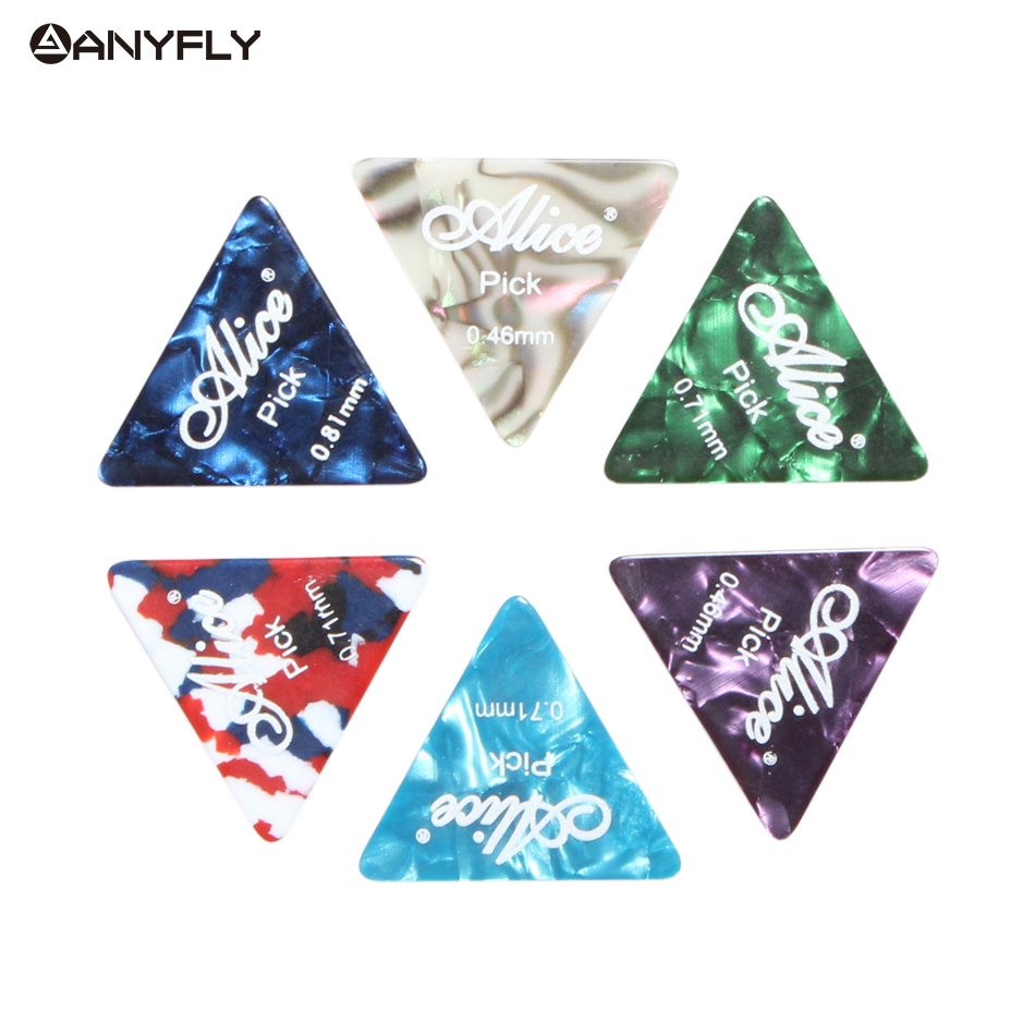 Free Shipping Alice AP-12L 12Pcs/Case Acoustic Electric Celluloid Guitar Guitar Picks Plectrums Triangle Shape