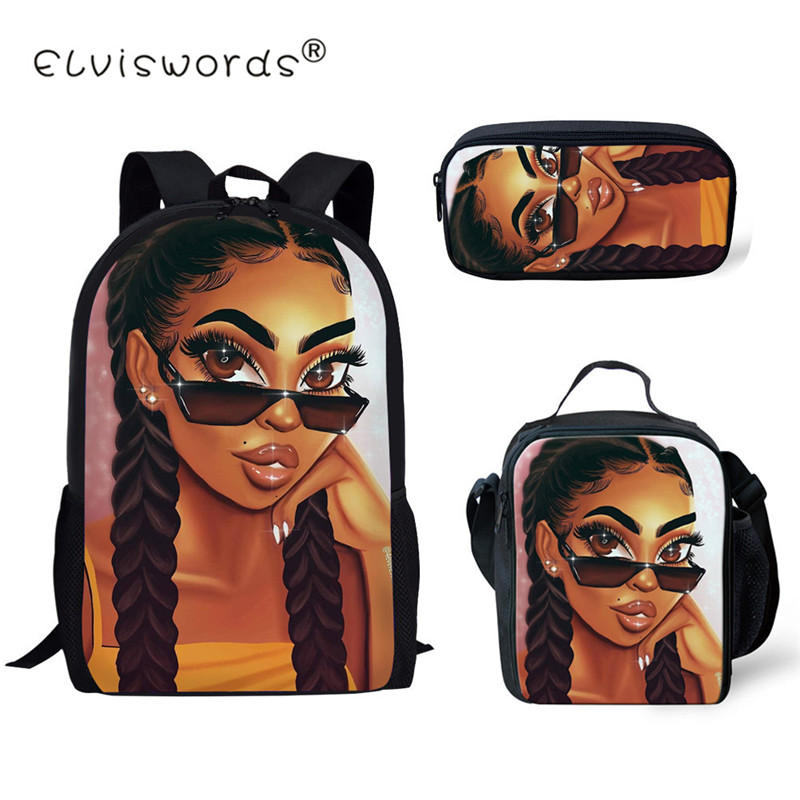 ELVISWORDS New School Bags for Kids Black Art African Girl Printing Shoulder Bagpack Children 3pcs set School Book Bags Satchel in School Bags from Luggage Bags