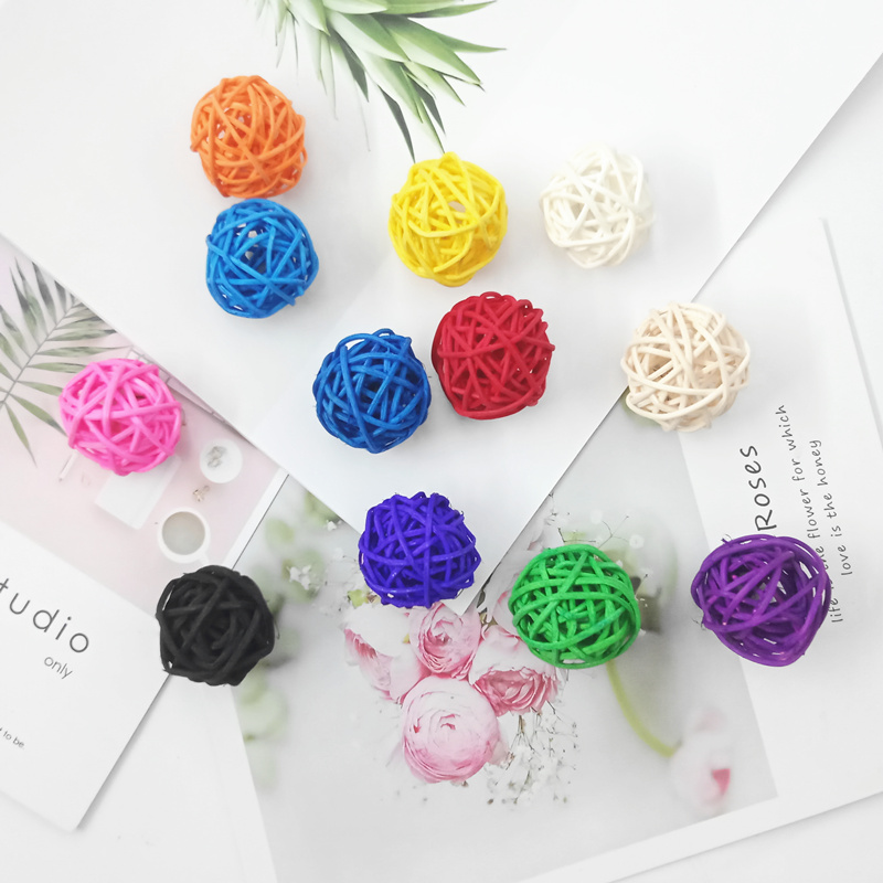 3cm/10PCS Natural Color Rattan Ball Artificial Decorative Grass Ball Home Birthday Party Wedding Decoration Ball
