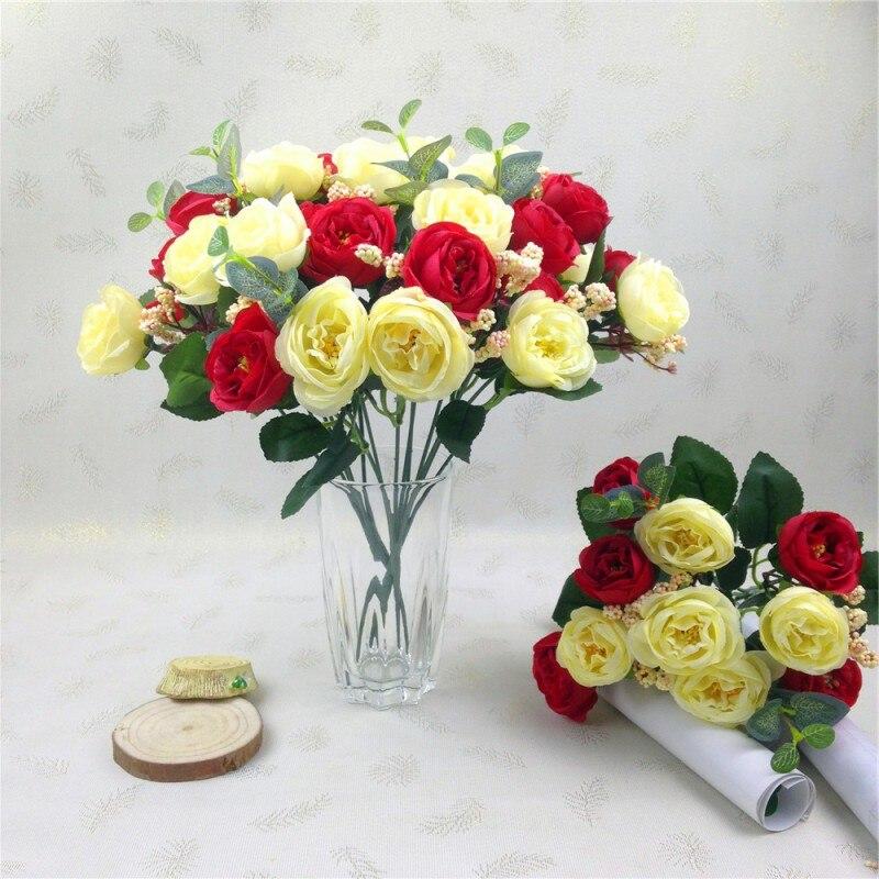 10 unids Partido Casero Decorativo Flores Rosa Flores Artificiales Flores de Sed