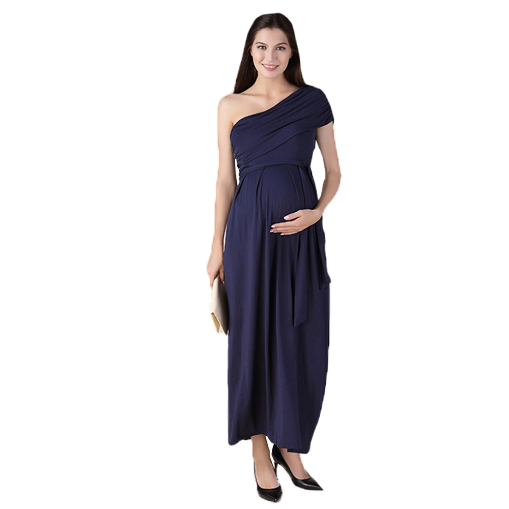 Oblique Shoulder Maxi Maternity Dress with Adjustable Sash for Pregnant Women Blue Black Noble Pregnancy Party Vestidos