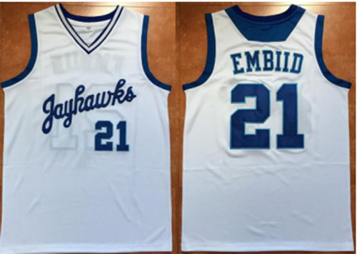 size 40 fd676 a4d0b #21 JOEL EMBIID jerseys Kansas Jayhawks BASKETBALL JERSEY WHITE,blue,Custom  ANY SIZE,throwback ...