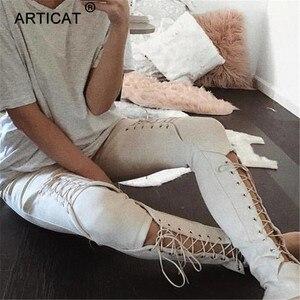 Image 2 - Calças de camurça para outono e inverno, calça de camurça feminina skinny com cintura alta, casual