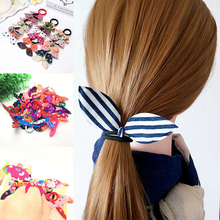 Wholesale New 10pc Women Girls Cute Rabbit Ears Elastic Hair Bands Ponytail Holder Hair Ropes Rubber Bands Hair Accessories цены