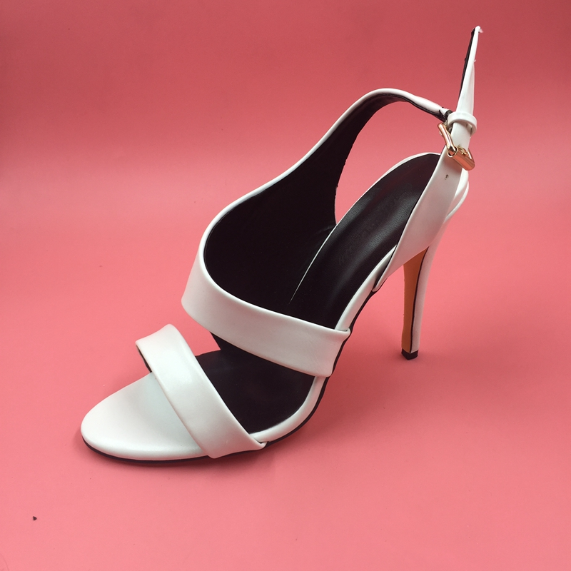 Sexy White Slingbacks Women Pump Sandal Heels Open Toe Women Pumps Ankle Strap Shoes Women 2017 New Womens Size 13 Heels