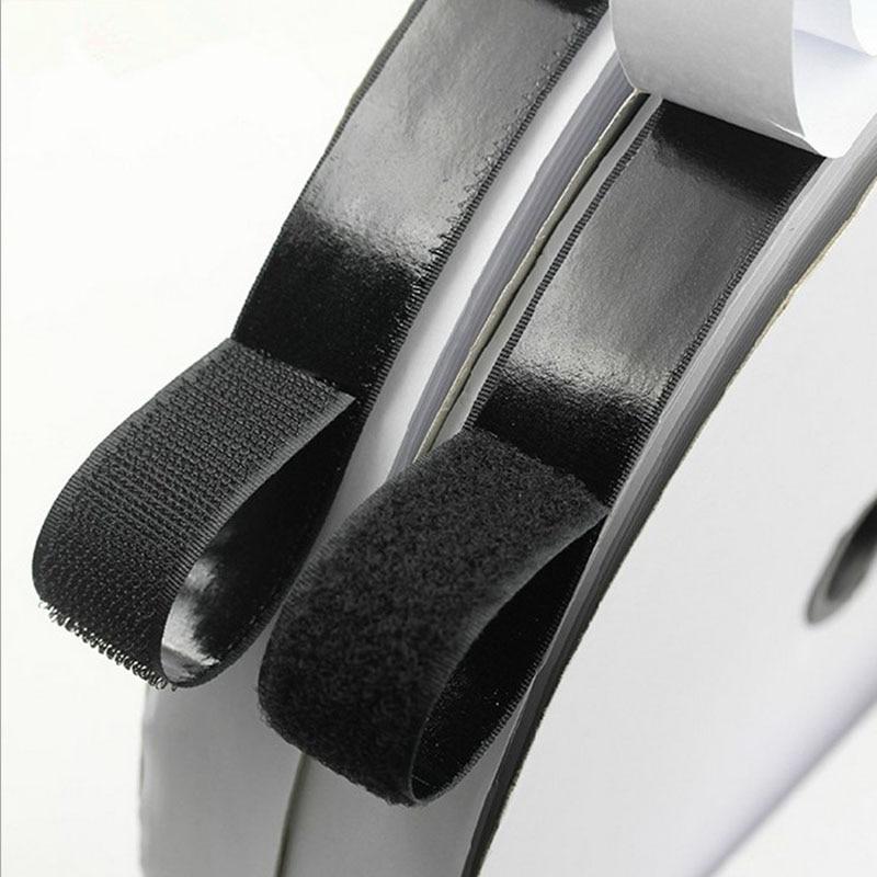 2 Rolls 5m Black Hook and Loop Self Adhesive Fastener Strong Tape Hook and Loop Strip Tape adhesive(China)