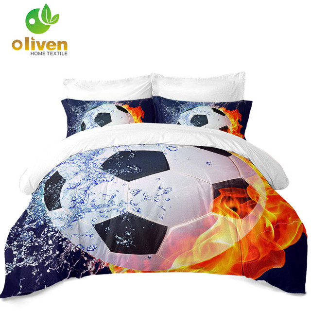 US 29 0 25 OFF 3D Football Bedding Set Fire Water Soccer Print Duvet Cover Set Kids Teens Bedding Twin King Queen Pillowcase Home Decor D25 In