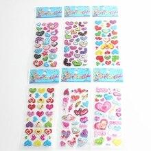6sheets Art Heart Shape Scrapbooking Crystal Stickers Romantic Kawaii Emoji Reward Kids Children Fashion Craft
