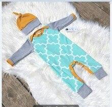 New Ins Fashion Newborn Cotton Baby Rompers Jumpsuit Clothing Infant Baby Beanies Hat Cap + Body Suit Outfit Set 2pcs/set