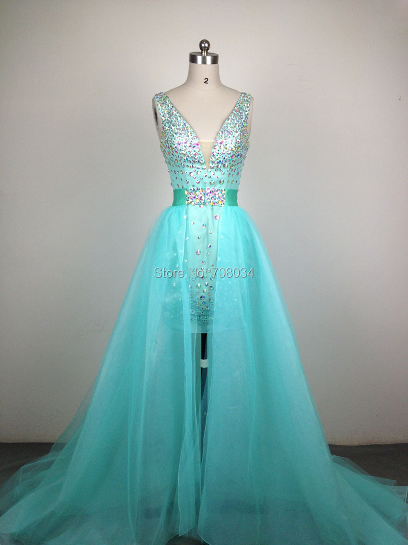 Aliexpress.com : Buy Fashion two pieces prom dresses sexy V neckline ...