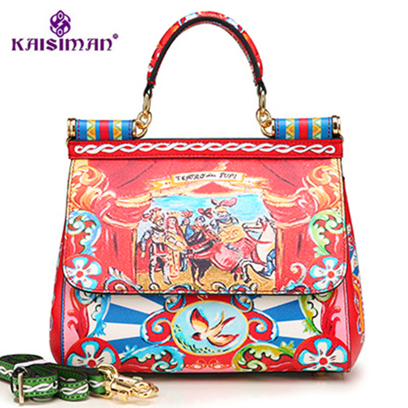 Famous Designer Luxury Brand Sicily Fashion Printed Genuine Leather Platinum Bag Handbag Lady Messenger Shoulder Bags Sac A Main fashion chain casual shoulder bag messenger bag luxury handbag famous brand women designer crossbody bags lady clucth sac a main
