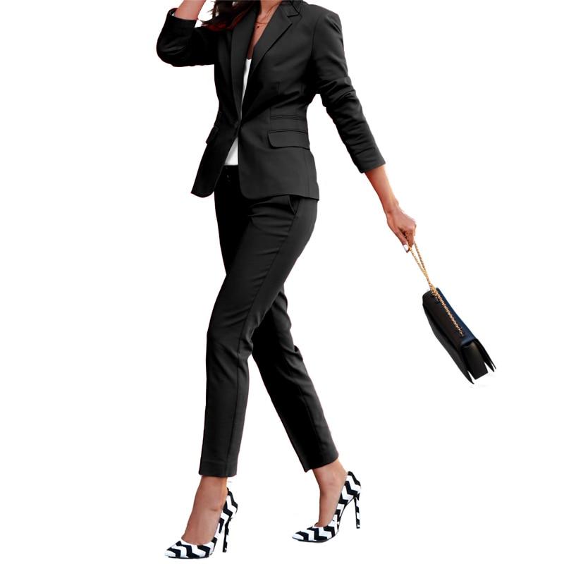 Summer Women 2 Pieces Sets Business Suits Black Slim Pants Suit Formal OL Office Work Long Sleeve Trouser Tuxedo W106