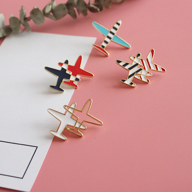 Small Airplane Enamel Brooch Pin For Women