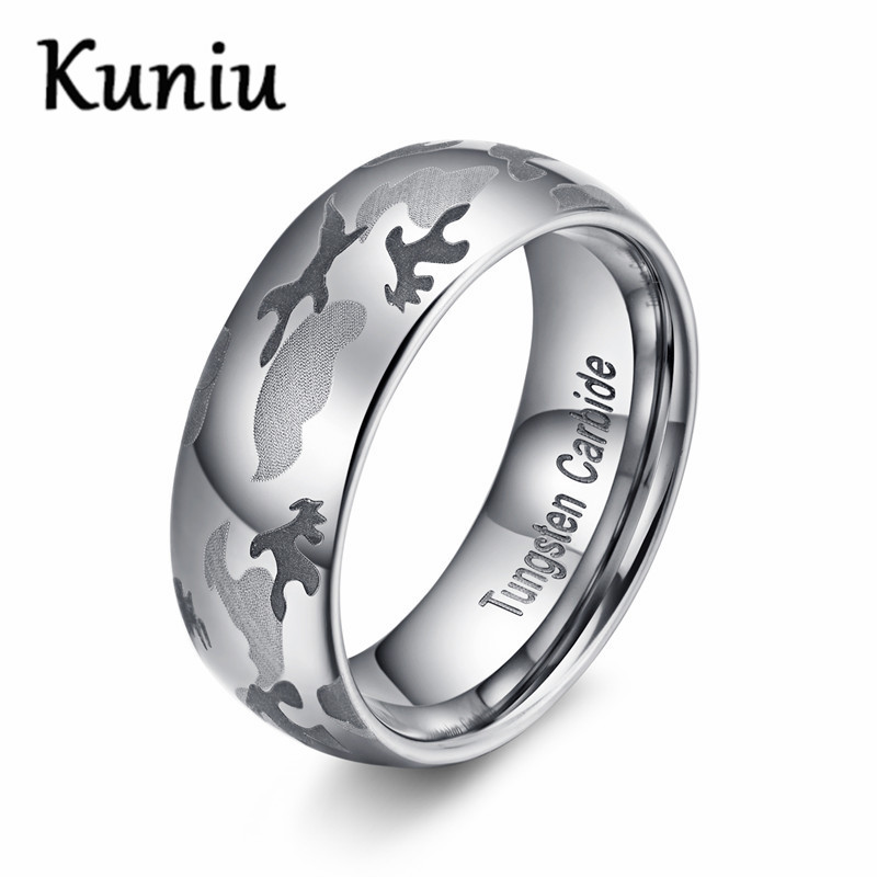 kuniu 8mm wide mens polished camouflage design tungsten carbide ring wedding jewelry mens ringschina - Cheap Camo Wedding Rings