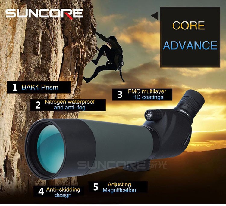 Suncore MJ 20-60X80 Hunting Scope Monocular Single Hand Focus Spotting Scopes For Birdwatching with tripod professional spotting scope with portable tripod hd monocular telescope 12 36x50 spotting scopes for hunting birdwatching