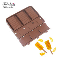Silicone Molds 3 Cavity Stripe Shaped Bar Party Drink Ice Cream Mold With 20 Stickers For