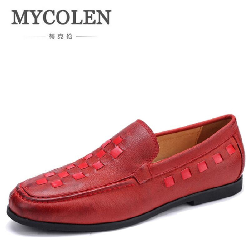 MYCOLEN 2017 New Men Shoes Wine Red Genuine Leather Men's Shoes Breathable Casual Non-Slip Leather Shoes For Men zapatos new fashion men luxury brand casual shoes men non slip breathable genuine leather casual shoes ankle boots zapatos hombre 3s88