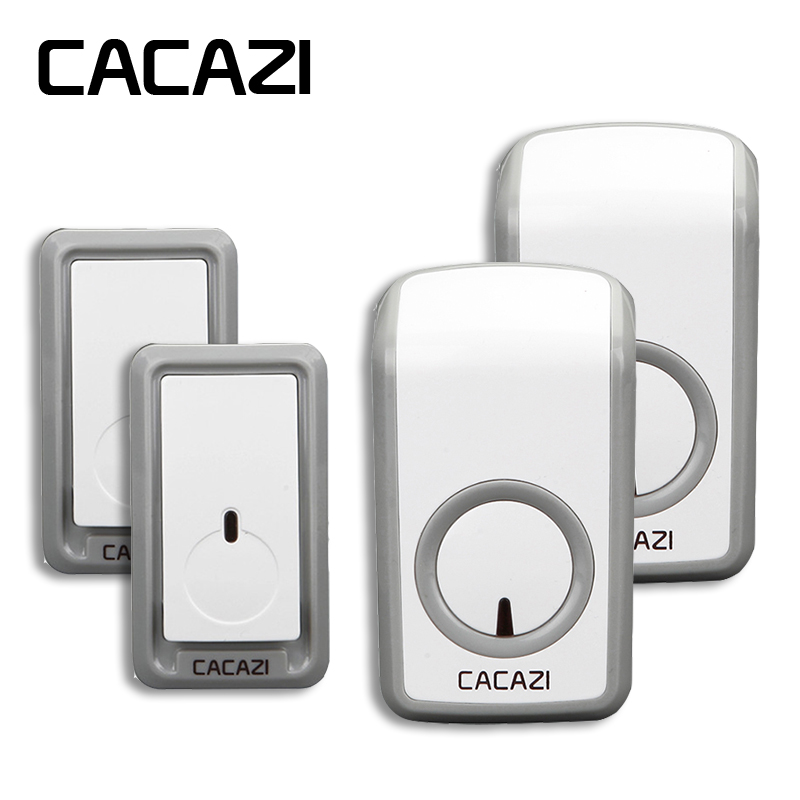 CACAZI Wireless door bell 350M remote 2 Waterproof buttons+2 doorbell receivers 315 MHz without interference EU/US/UK plug 3 doorbell buttons 1 doorbell receivers 350m remote control ac 110 220v waterproof button elderly pager wireless doorbell