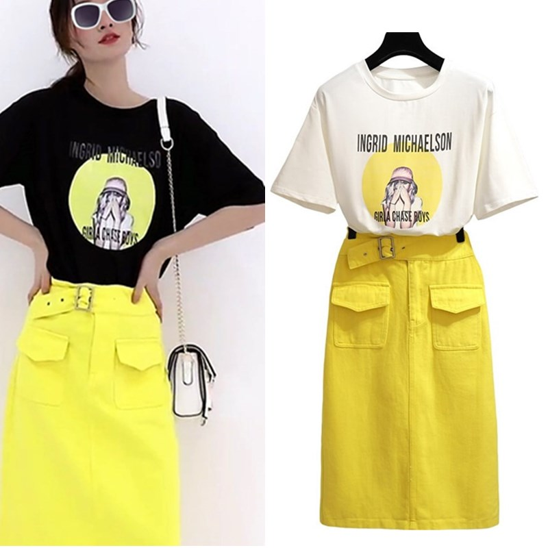 With Belt! Summer Women Short Sleeve Loose Tees Letters Print Tops And Lemon Slim Fresh Skirt Suits Twinset Casual Set NS993