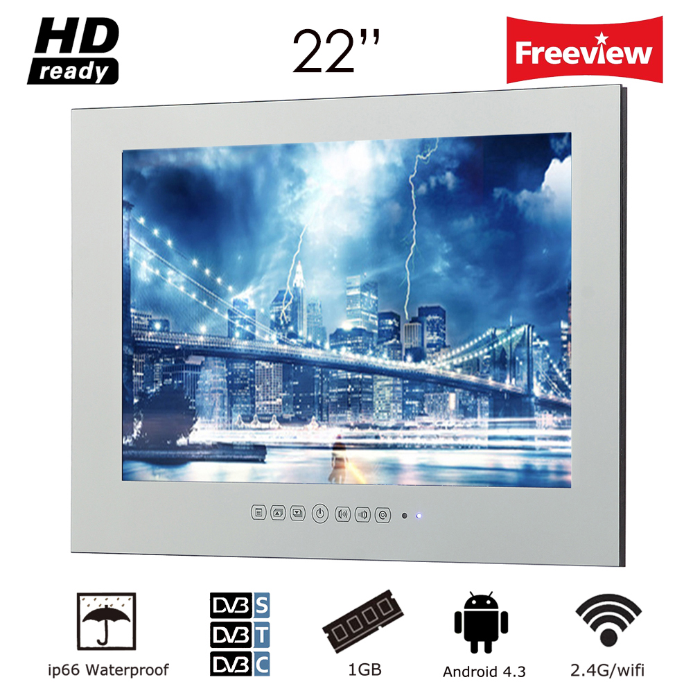 Souria 22 inch Magic Mirror LED TV with WiFi HD 1080i Android 4.2.2 Smart Bathroom Frameless Monitor Indoor Advertising