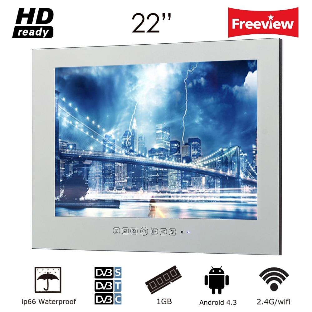 Souria 22 pouce Magique Miroir LED TV avec WiFi HD 1080i Android 4.2.2 Smart Salle De Bains Sans Cadre Moniteur Publicité Intérieure