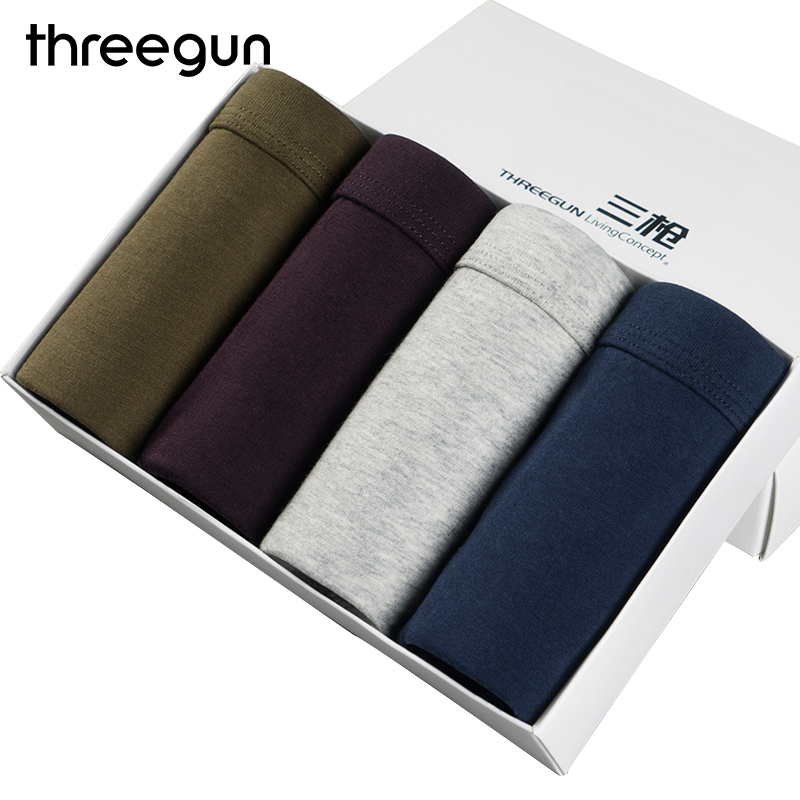 THREEGUN 4pcs / Lot Men's Boxer with Free Undershirts Ultra soft Breathable Cotton Underwear Solid Boxers Men's Boxers Trunk