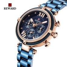 REWARD 2019 Luxury Brand Three Eyes Six Needles Full Steel Waterproof Sport Chronograph Women Watches Relogio Masculino montre
