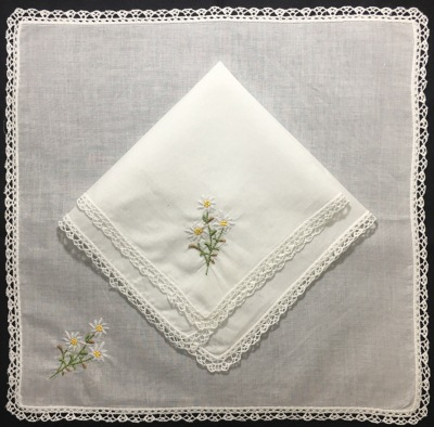 Set Of 12 Fashion Ladies Handkerchiefs White Cotton Hankies With Lace Edged & Color Embroidered Floral Hanky Bridal Gifts 12x12