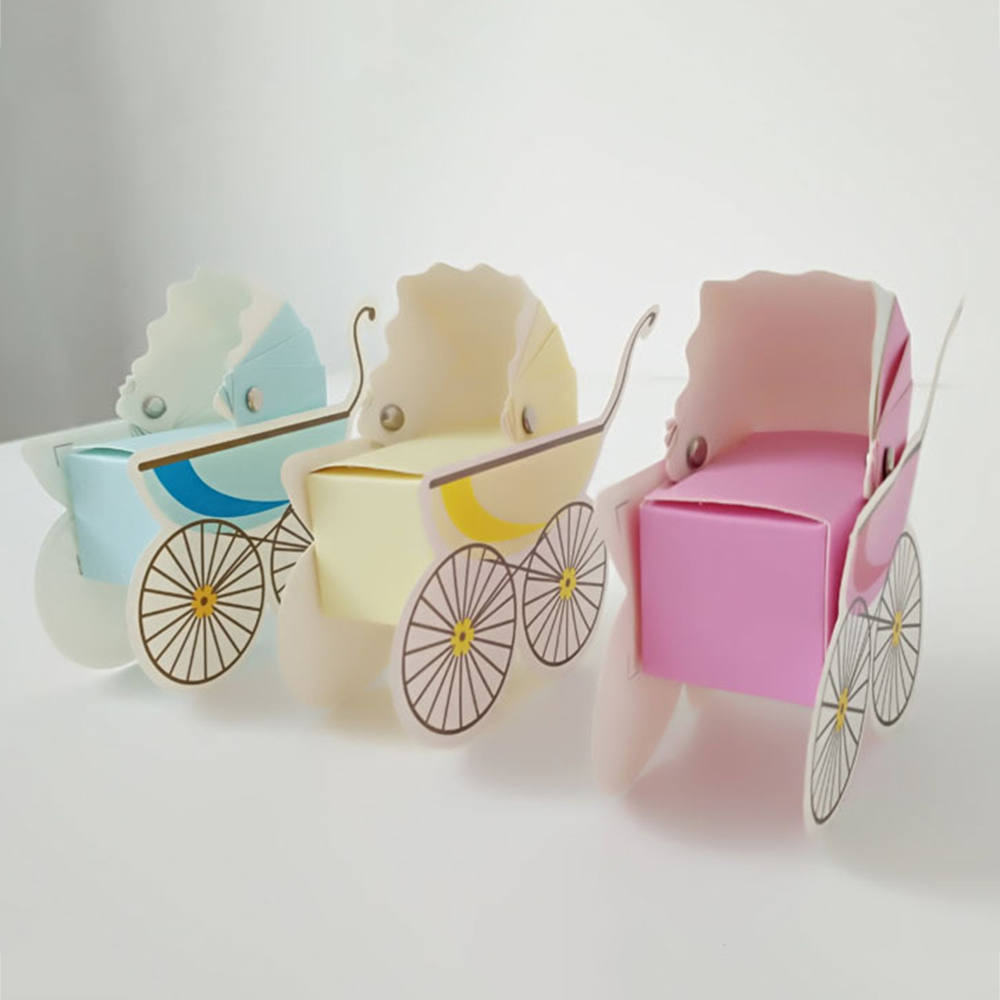 25 Pcs Baby Shower Newborn Baby Candy Box Lovely Mini Stroller Candy Boxes Lovely Babyshower Kid's Party Gift Boxes Hot Sale