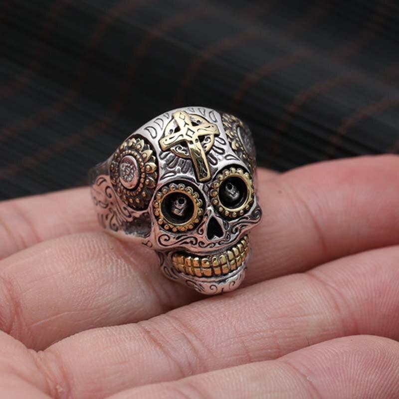100% pur 925 argent Sterling crâne Vintage anneaux pour hommes rétro croix et soleil Fower gravé Vintage Punk Rock mâle bijoux fins - 3