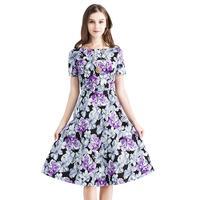 2017 Purple Flower Print Vintage Dress Short Sleeve Round Neck A Line Women Dress Female Cotton