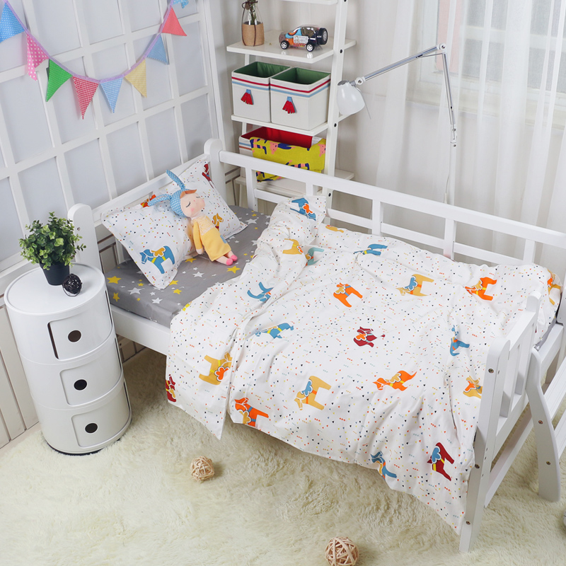 Nordic Style Little Horse Pattern Multi-sizes Baby Bedding Cover Kids Teenagers Bed Room 100% Cotton Quilt /Duvet Cover 1 Pcs
