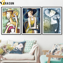Abstract Smoking Woman Hat Oil Paintings Nordic Posters and Prints Wall Art Canvas Painting Wall Pictures For Living Room Decor(China)