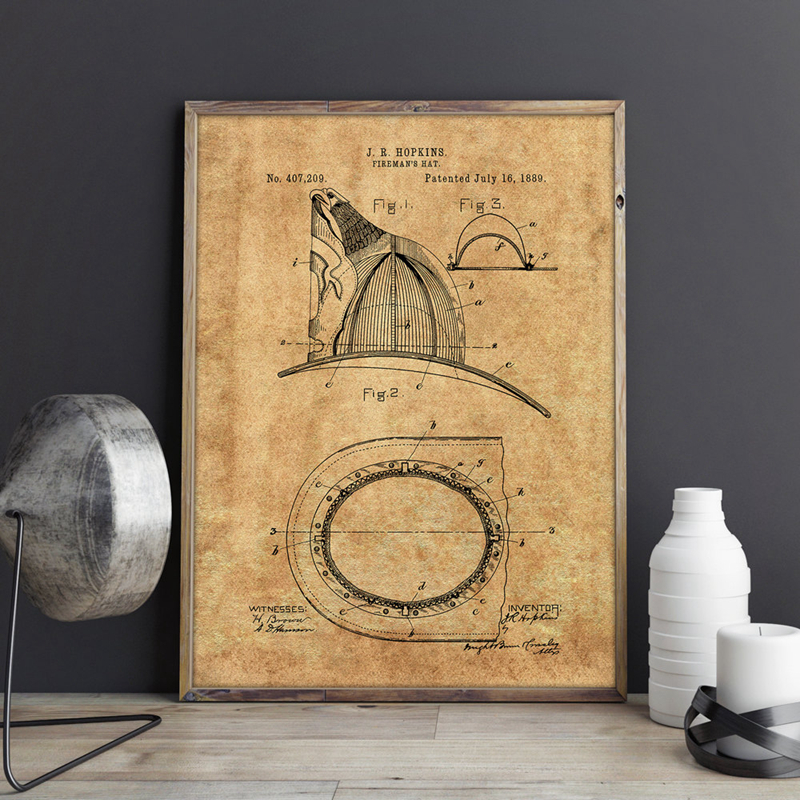 Fireman Helmet Patent Wall Art Canvas Painting Fire Fighter Hat Art Vintage Blueprint Posters and Print Wall Picture Home Decor