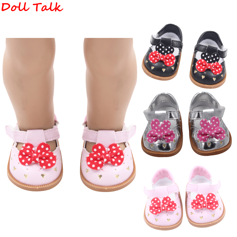 7cm Fashion Baby Doll Shoes Leather Shoes With Bow-knot For 1/3 BJD 18